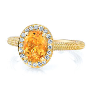14k Yellow Gold Oval Citrine Diamond Halo Beaded Ring Solitaire Natural 1.29 TCW