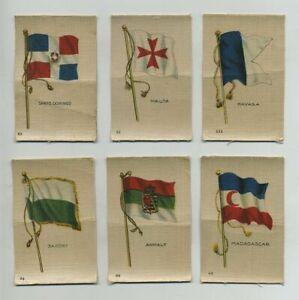(6) Early Vintage Cigarette Tobacco Silks FLAGS CUBA MALTA MADAGASCAR etc yz8163