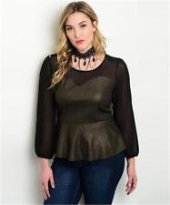 NEW..Stylish Sassy Plus Size Black & Gold Shimmer Peplum Style Top..Sz18/3xl