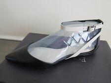 $135 ENZO ANGIOLINI CHRISTAZ Black White Leather Designer Pointed Toe Flats 8.5