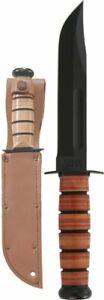 "KA-BAR Single Mark, 7"" Fixed Blade + Blank Leather Sheath, Made in USA #1320"