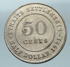 1921 STRAITS SETTLEMENTS UK King George V Vintage SILVER 50 CENTS Coin i84636