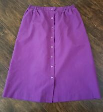 KORET Womens Size 18 Purple Button Front Flared Skirt Pleated Elastic Waistband