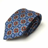 Jos A Bank Signature Gold Blue/Red Floral Geometric 100% Silk Neck Tie