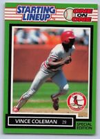 """1989  VINCE COLEMAN - Kenner Starting Lineup Card -OAKLAND ATHLETICS """"ONE on ONE"""