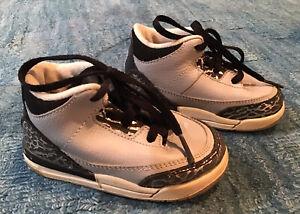 Nike Air Jordan 3 Retro Toddler Boys Unisex Size 6C Gray black 832033-004
