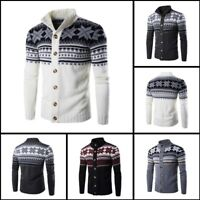 Warm Winter Mens Cardigan Casual Knit Knitwear Turtle Neck Sweater Jacket Coat