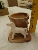 Vintage Morton Pottery white Horse Pony Tree Stump Planter MCM 1950s