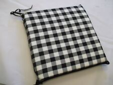 GINGHAM BLACK ZIP OFF LUXURIOUS SEAT PADS SUITABLE FOR KITCHEN/DINING ROOM