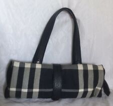 BURBERRY Black Leather/Canvas Tote/Shoulder Bag / Handbag