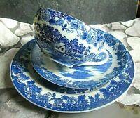 vintage sammel gedeck feines japanisches porzellan blau weiß landschaft 3 tlg