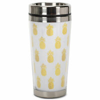 Gold Pineapples 16 Ounce Stainless Steel Travel Tumbler Mug