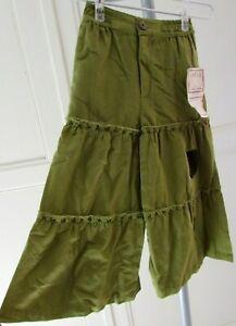Pantalon hippie baba cool fille M = 5 ans coton vert pattes d'eph Népal NEUF