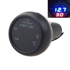 Car Auto 12V 24V USB Charger LED Digital Thermometer Voltage Voltmeter Special