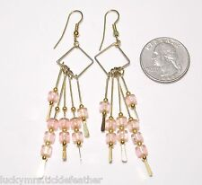 Pierced Earrings, Wire Diamond w/Pale Pink Transparent Beads on Flat End Dangles