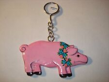 Enamel Painted Wood Floral PIG Key Chain New