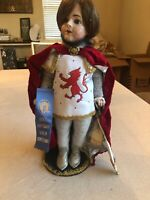 "Vintage Bisque 18"" Doll Artisan Guild Award Winning Knight With Stand"