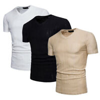 Men's Slim V Neck Short Sleeve Muscle Tee T-shirt Casual Fit Tops Blouse Shirts