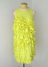 Robert Rodriguez neon yellow ruffle tank dress salsa dance Sz 8