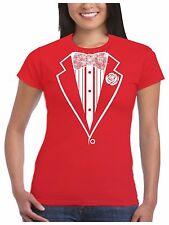 Tuxedo T Shirt Ladies Sparkling Diamante Rhinestone Bow Tie Hen Fancy Dress