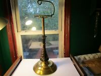 Vintage MCM Brass Ashtray Stand Black & Gold Glass & Brass Stand 1950's