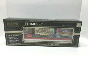 K-Line Circus Transport Railroad Flat Car w/ 3 Wagons K-69009 O Scale
