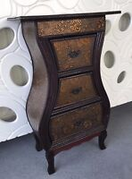 Dark Wood Oriental Chinese Style Drawer Storage Unit Bedside Cabinet Home Decor