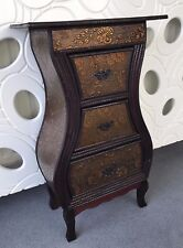 Dark Wood Oriental Chinese Style Drawer Storage Unit Bedside Cabinet Home Decor