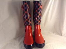 Women's Red Black & Plaid Design Rubber Low Heel Rain Boots Size 7