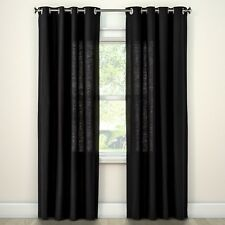 NEW Natural Solid Curtain Panel - Threshold 54x 84 Black One Panel