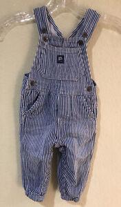 Osh Kosh Baby B'Gosh Sz 12M Overalls Vestbak Engineer Stripes Elastic Soft