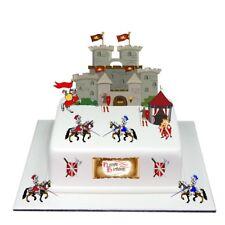 Medieval Castle Knight Birthday Scene Edible Premium Wafer Paper Cake Topper