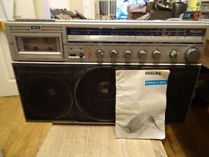 Vintage Philips D8444 Sound Machine Ghettoblaster Boombox + Instruction Manual