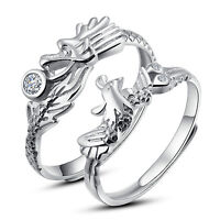 His and Hers Dragon and Phoenix Rings Couples Promise Rings Adjustable Open Ring