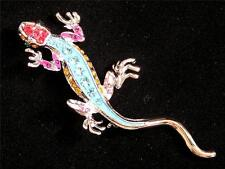 Brooch/Pin Colorful Rhinestone & Enamel Gecko Lizard