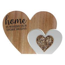 A casa è dove la nostra storia comincia slogan in legno tagliato a forma di cuore placca di blocco