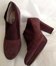 New💎CLARKS💎 Uk 6 D Kendra Mix Aubergine Suede Shoes Ankle Boots Heels Office
