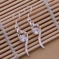 Earrings Heart Drop Ladies Crystal Fashion Casual 925 Sterling Silver Sweeping
