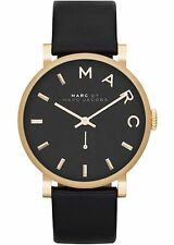 New Marc By Marc Jacobs Ladies Watch Baker Gold Tone Black Leather Strap MBM1269