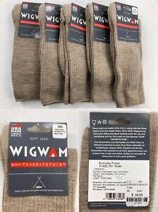 NEW Lot/5:  Wigwam F1403 Everyday Fusion Khaki Crew Sock Men 5-9.5 Women 6-10