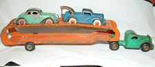 1930s Arcade Cast Iron Car Carrier Transporter with two vehicle