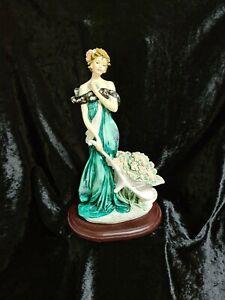 GUISEPPE ARMANI FGURINE ELEGANT LADY WITH WHEELBARROW FULL OF FLOWERS 12.5 INCHE