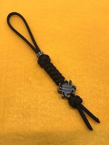 550 Paracord Knife Lanyard Jet Black With Flamed Titanium Alloy Spyderco Bead