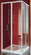 Box doccia angolare 80x80 profilo alluminio bianco cristallo trasparente 3 mm