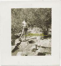 c1940 Photo New England Massachusetts MA Young Man Rocks Water George MacDonald