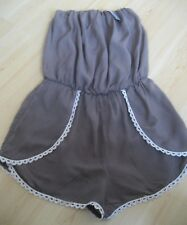 NWT Womens M Chocolate Brown WET SEAL One Piece ROMPER Short Set Crochet Lace