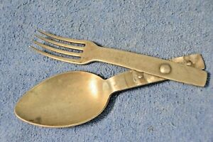 Original WW2 German Aluminum Folding Utensils Knife Fork Mess Kit 1939 with Name