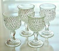 Vintage Clear Pressed Set of 4 Indiana Diamond Point Wine Water Glasses Goblets