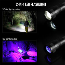 2 in 1 Portable LED White Light + UV Ultra Violet Flashlight Inspection Torch