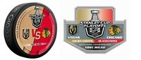 2020 STANLEY CUP PLAYOFFS PUCK & PIN FIRST 1ST ROUND VEGAS KNIGHTS VS BLACKHAWKS